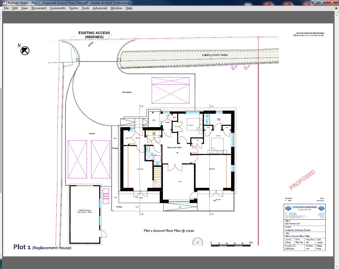 Ruthven Street - Plot 1 - Proposed First Floor Plan & Elevations